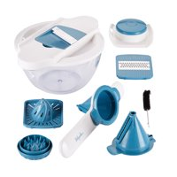Ayesha Curry Home Collection 5-in-1 Mandoline & Spiralizer Set, Twilight Teal