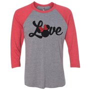 "Womens Minnie Mouse Raglan "" Love "" Disney World 3/4 Sleeve Baseball Tee Gift Small, Grey/Red"