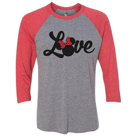 "Womens Minnie Mouse Raglan "" Love "" Disney World 3/4 Sleeve Baseball Tee Gift Small, -"
