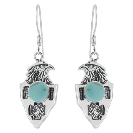 Gem Avenue Eagle 925 Sterling Silver Turquoise French Hook Drop Earrings American Silver Eagle Gem