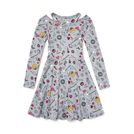 The Children's Place Rockstar Doodle Cutout Neck Long Sleeve Dress - Children's Chinese Dress