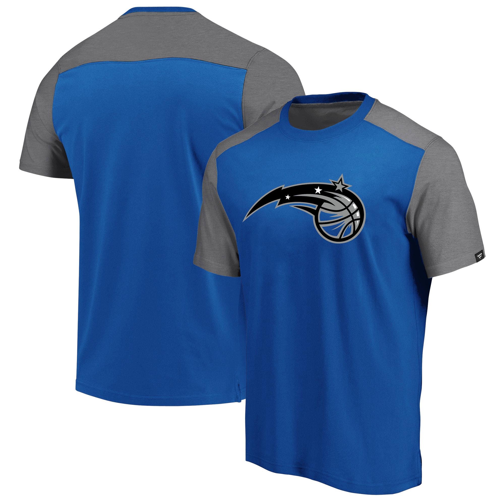 Orlando Magic Fanatics Branded Iconic Blocked T-Shirt - Royal/Heathered Gray