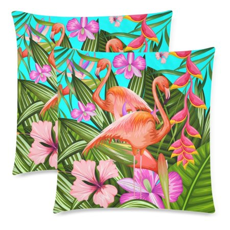 YKCG 2 Pack Exotic Tropical Flower and Flamingo Pillowcase 18x18 Cushion Case Cover Twin Sides, Summer Vintage Print Zippered Throw Pillow Case Cover Decorative for Couch - Tropical Flower