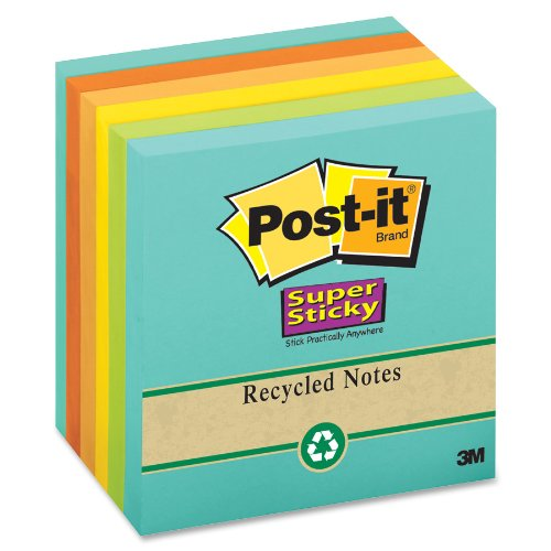 "Post-it Super Sticky Recycled Notes, 3"" x 3"", Assorted Nature's Hues, 6pc"