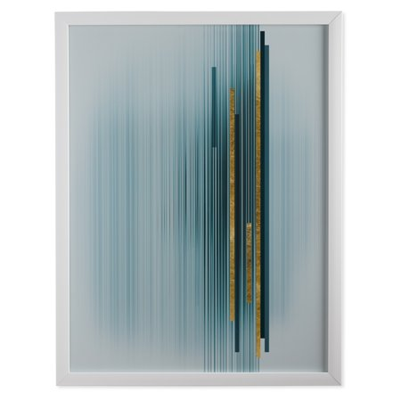 MoDRN Glam Blue and Gold Vertical Lines Wall Art](Glam Rock Decor)