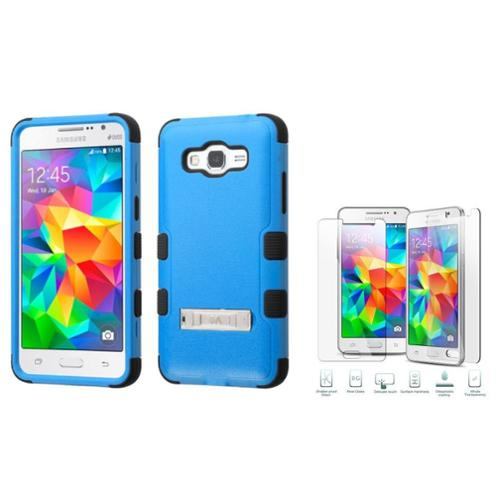 Insten Dual Layer Silicone Case w/stand For Samsung Galaxy Grand Prime - Blue/Black (with Tempered Glass Protector)