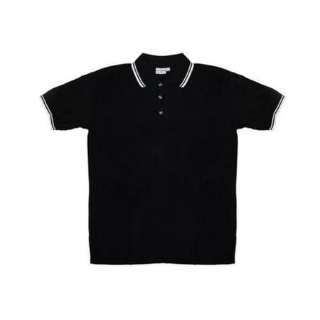 - Men's Black Knit Pullover Golf Polo Shirt - Medium