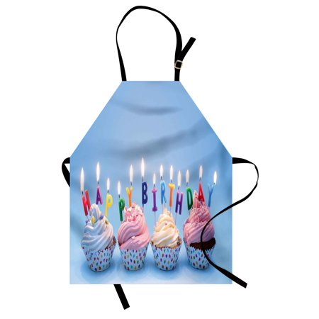 birthday apron delicious creamy cupcakes with letter candles sweet celebration theme art print unisex kitchen