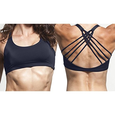 Women's Sports Bra with four criss cross straps and removable padding (Large) ()
