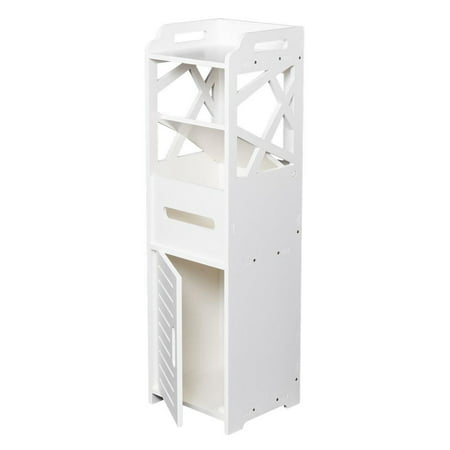 Ktaxon Modern 3-Tier Bathroom Cabinet Storage Cupboard Wooden Slim Shelf Cupboard,White