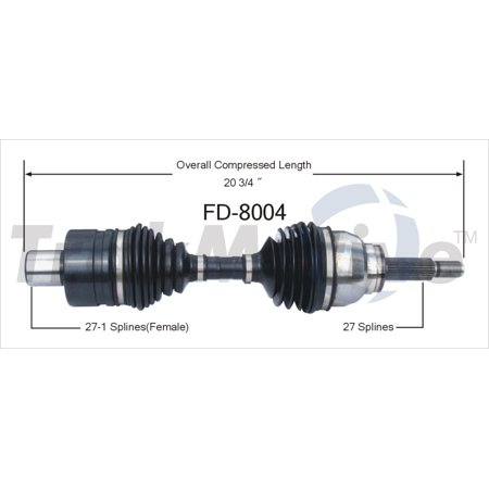 TrakMotive FD-8004 CV Axle Shaft Premium OEM Replacement - image 1 de 1