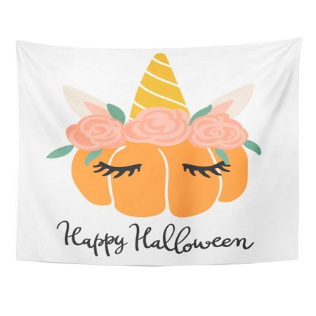 Happy Halloween Kawaii (ZEALGNED Cute Kawaii Little Pumpkin Head Unicorn Flat Children Scandinavian Happy Halloween Lettering Wall Art Hanging Tapestry Home Decor for Living Room Bedroom Dorm 51x60)