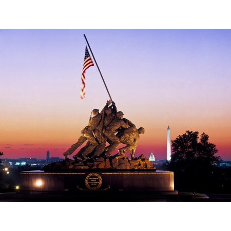 Iwo Jima Memorial at dawn, Washington Monument, Washington DC, USA Print Wall (Memorial Wall Dc)