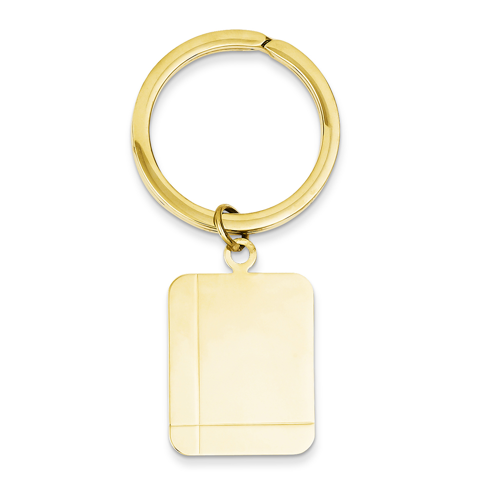 14k Yellow Gold Rectangle Disc Key Ring MC324 by