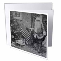 3dRose Patriotic Santa  Vintage Christmas   Grayscale, Greeting Cards, 6 x 6 inches, set of 12