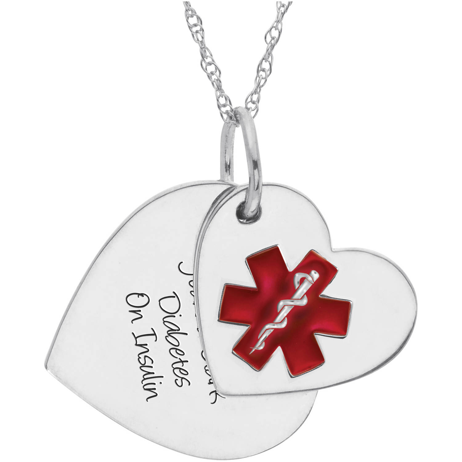 Personalized Keepsake Women's Medical ID Heart Pendant