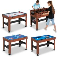"""MD Sports 54"""" 4 in 1 Combo Game Table, Accessories Included, Brown"""