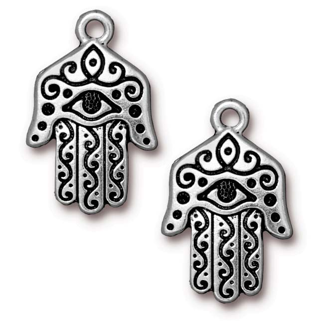 Antiqued Silver Plated Hamsa Hand Pendant 26.5mm (1)