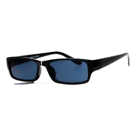 SA106 Narrow Rectangular Classic Plastic Pimp Mens Sunglasses Black](Black Plastic Sunglasses)