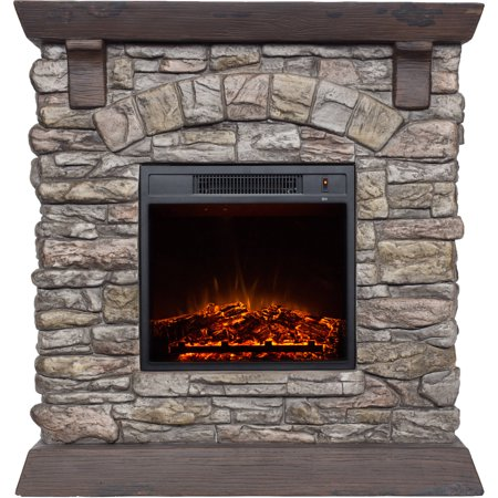 Polyfiber Electric Fireplace with 38
