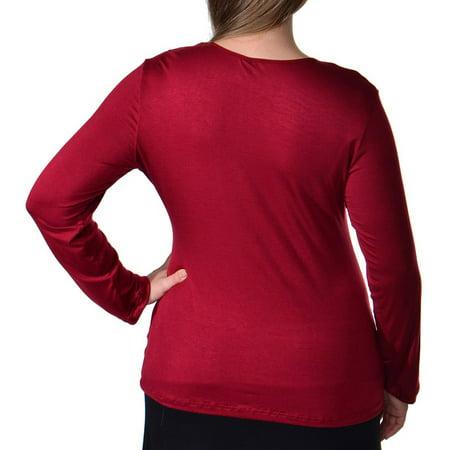 24/7 Comfort Apparel Plus Size Women's Crew Neck Long Sleeve Top