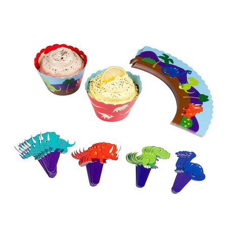 50 Themed Party (Juvale Kids Dino Cupcake Wrappers and Toppers - 50-Set Jurassic Dinosaur Themed Birthday Party Favor Supplies, 50 Wrappers and 52 Toppers in Assorted)