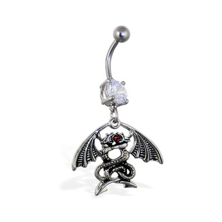 Navel Ring With Dangling Entwined Dragons