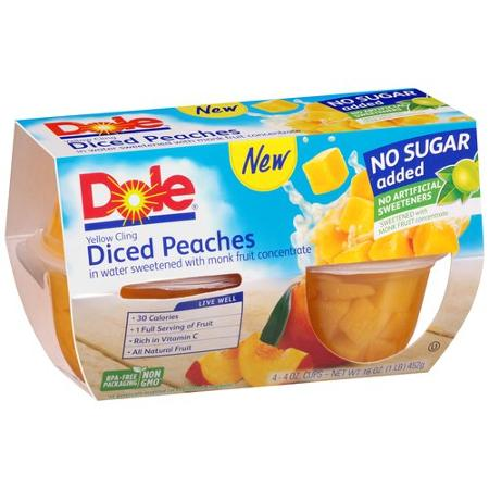 Dole No Sugar Added Yellow Cling Diced Peaches Fruit Cups, 4 oz, 4 ct