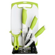 84063 6 Pc. Green Kitchen Cutlery 6 Piece and White Ceramic Knife and Tool Set, Set includes: 3 Paring Knife, 4 Utility Knife, 5 Santoku, Vegetable Peeler,.., By New England Cutlery