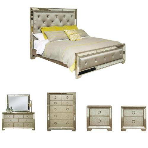 sofawebcom celine 6piece mirrored and upholstered tufted king bedroom set