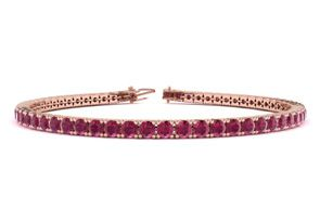 8 Inch 6 Carat Ruby Tennis Bracelet In 14K Rose Gold by