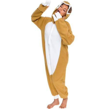 SILVER LILLY Unisex Adult Plush Sloth Animal Cosplay Costume Pajamas (Sloth Animal Halloween Costume)