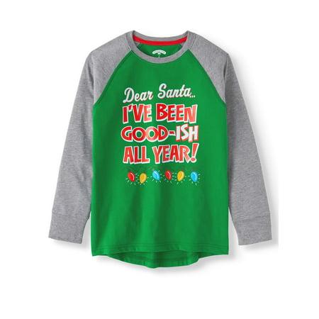 Christmas Boys (Long Sleeve Raglan Christmas Holiday Graphic T-shirts (Little Boys & Big)