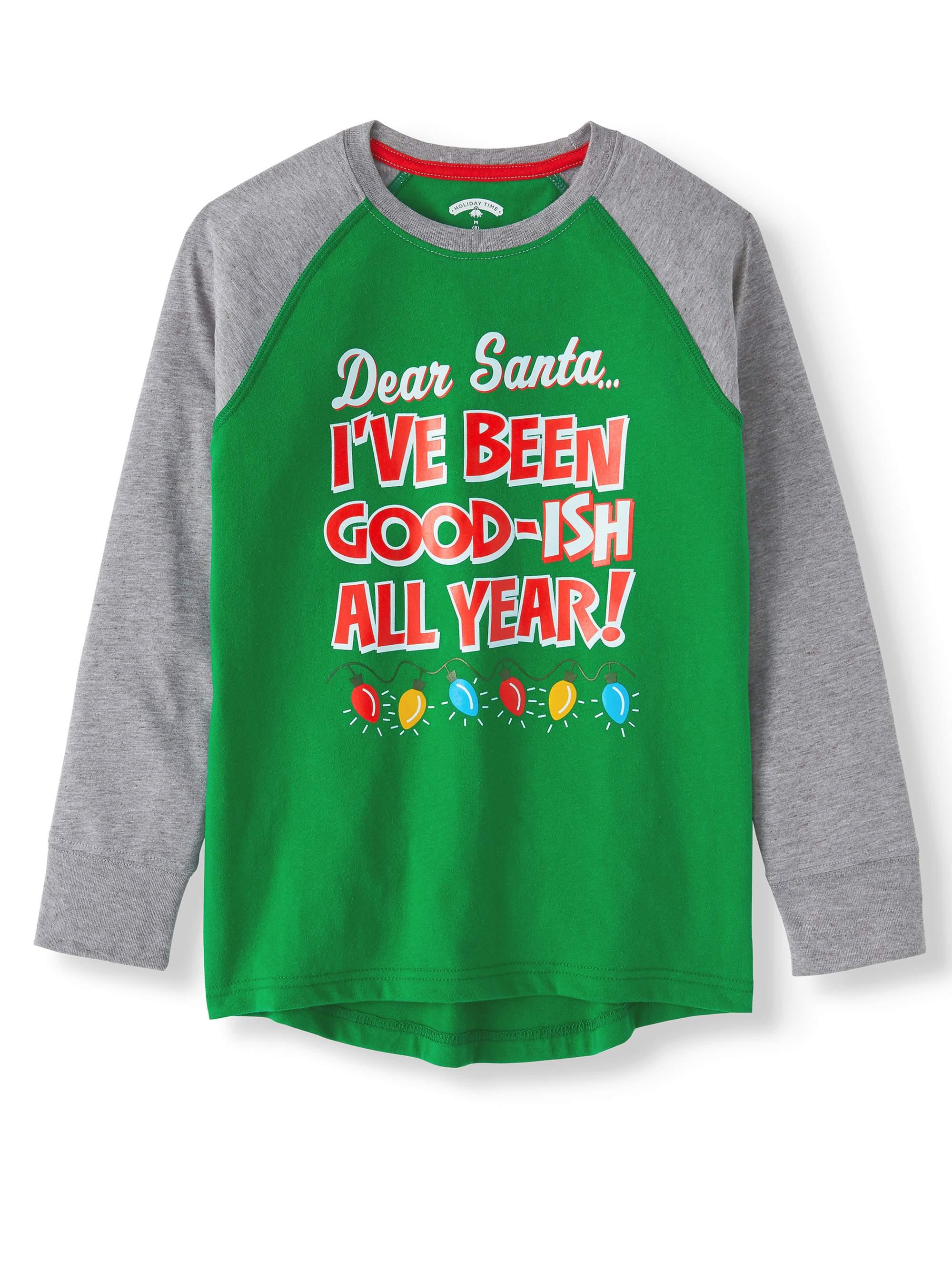 Long Sleeve Raglan Christmas Holiday Graphic T-shirts (Little Boys & Big Boys)
