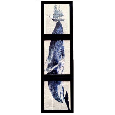 "Art N Wordz ""Hydraulic Press"" Whale Ship 3 Piece Triplicate Original Dictionary Sheet Pop Art Wall or Desk Art Print Poster"
