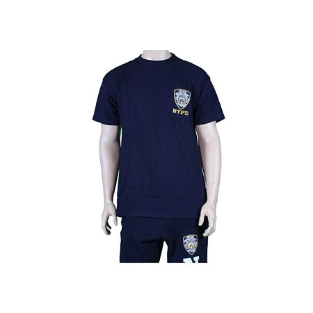 Nypd Mens Navy Blue Tee Embroidered Logo Short Sleeve T-Shirt