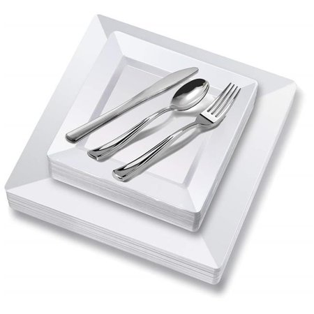 Stock Your Home 3024 White Square Plastic Place Setting Set with Plates & Cutlery, 125 Piece