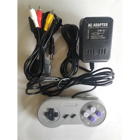Replacement AC Adapter Power Cable Cord With A/V Audio Video Cable and 1 Controller For Super Nintendo SNES Bundle Pack
