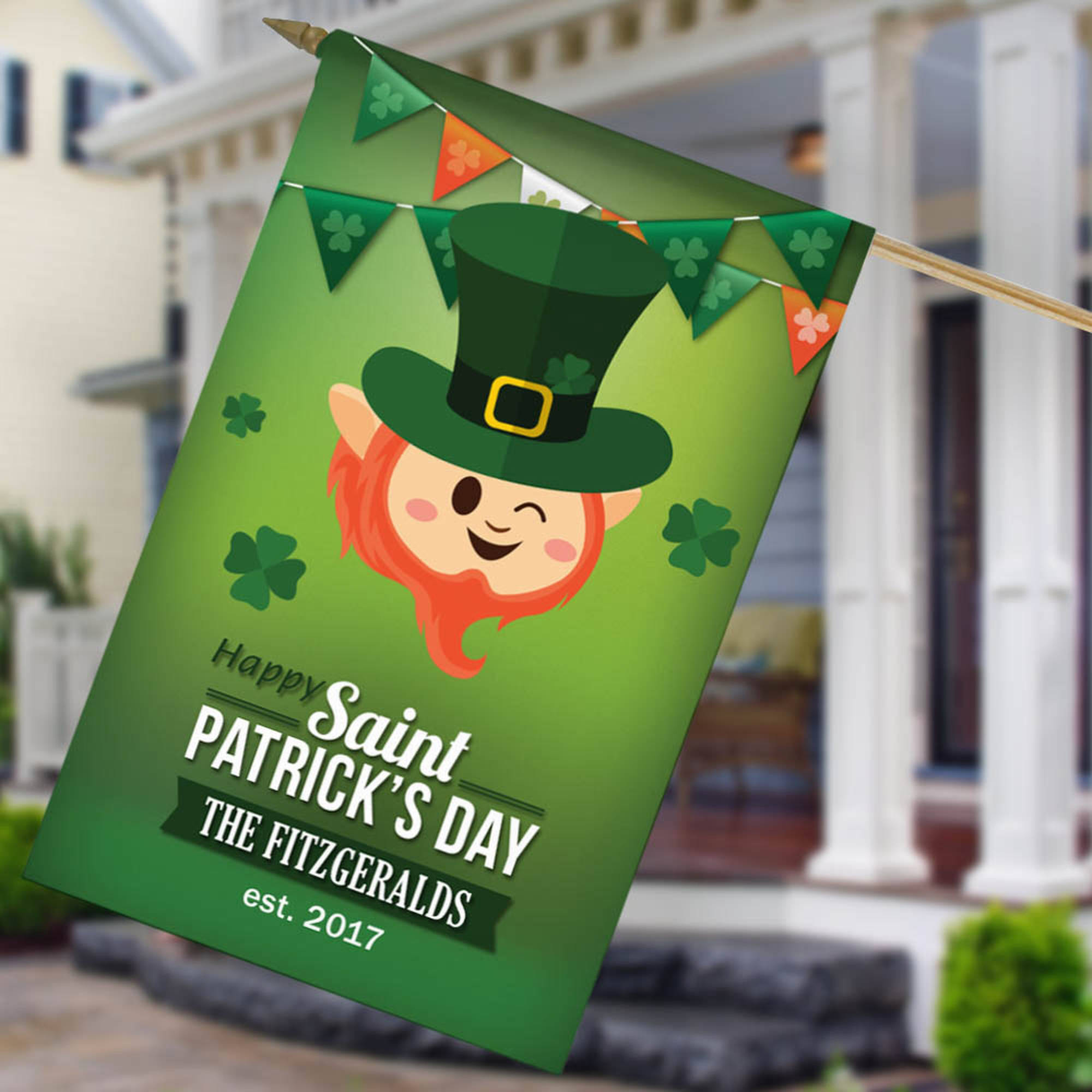 "Saint Patrick's Day Personalized House Flag, 27"" x 18"""