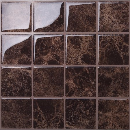 Tic Tac Tiles - Premium Anti Mold Peel and Stick Wall Tile Backsplash in Marmo Marte ()