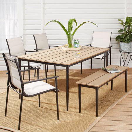 Mainstays Seiland Bay 6-Piece Patio Sling Mesh Dining Set ()