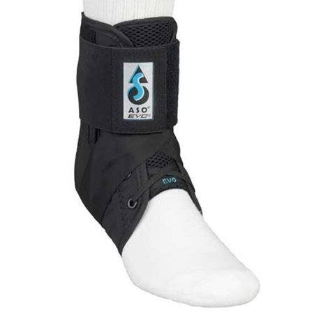 MedSpec ASO EVO Ankle Stabilizer - Black Small 11 inch - 12 inch - 264092, Stirrup strap: captures heel to restrict inversion & eversion ankle.., By Medical Specialties