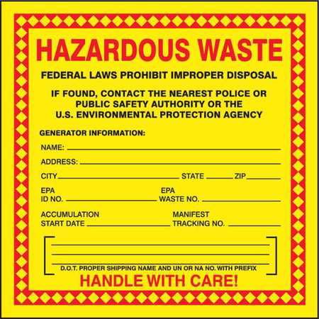 Hazardous Waste Label,Red/Yellow,PK100 ACCUFORM MHZW20PSC