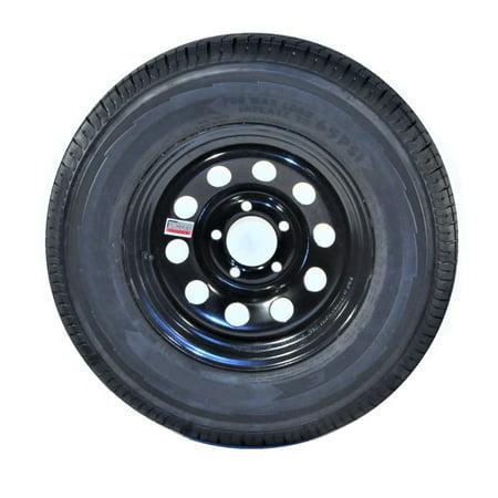 2-Pack Trailer Tire and Rim ST205/75R15 Load Range D 5 Lug 4.5 in. Black Modular Black Finish 5 Lug