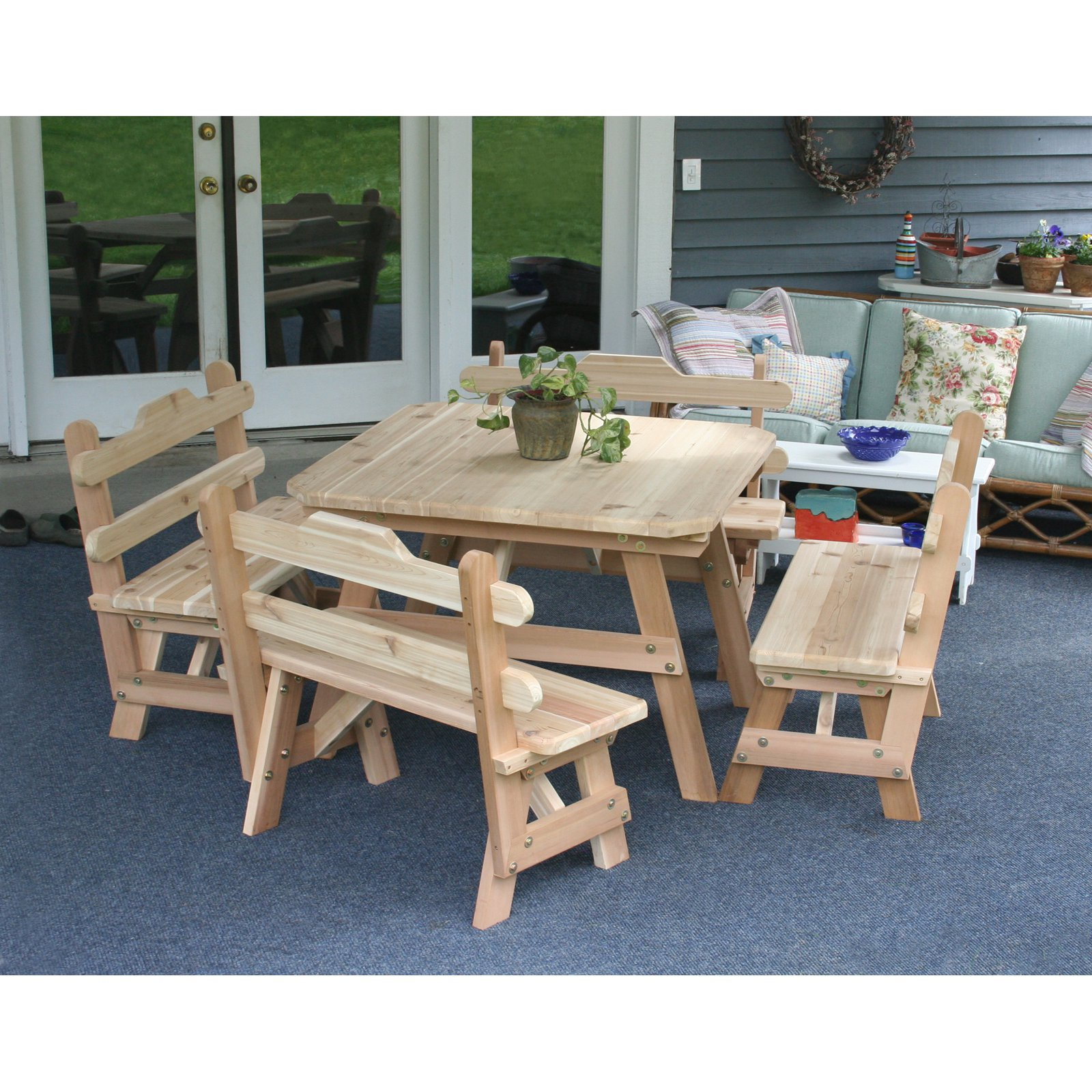 Creekvine Designs Cedar Four Square Picnic Table And Bench Set - Square picnic table with benches