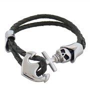 Stainless Steel Black Leather Silver-Tone Anchor Skull Pirate Men's Wristband Bracelet