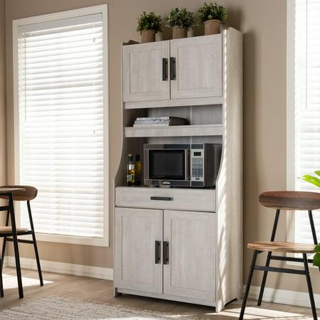 Baxton Studio Portia Modern And Contemporary 6 Shelf White Washed Wood Kitchen Storage Cabinet