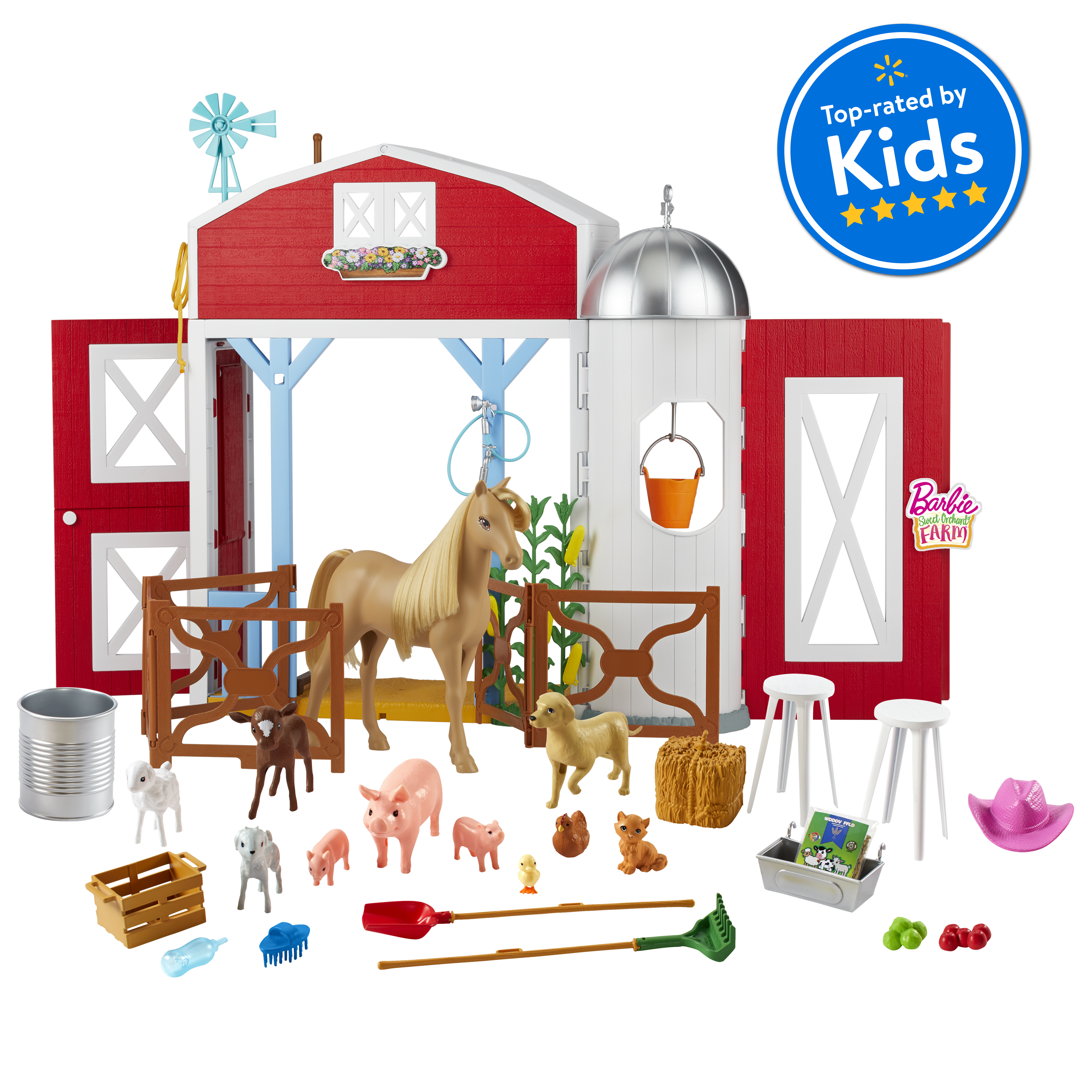 Barbie Sweet Orchard Farm Playset With Barn 11 Animals Working Features 15 Pieces Doll Sold Separately Walmart Com Walmart Com