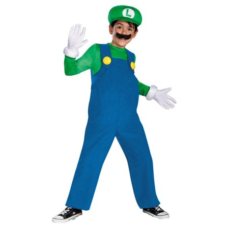 Mario Brothers Boys Deluxe Luigi Costume With Inflatable Belly Gloves & Hat