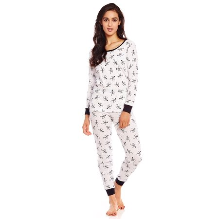 Leveret Women 2 Piece Pajama Set 100% Cotton White Skeleton Small